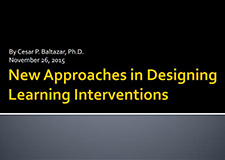 New Approaches in Designing Learning Interventions